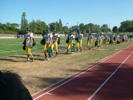 Almost half of the JV football team is shown prior to their game against Casa Roble.